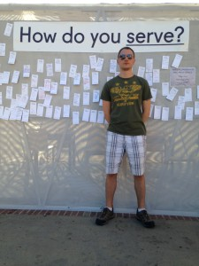 "Tyler visiting the ""Peace & Quiet"" installation outside Royce Hall."